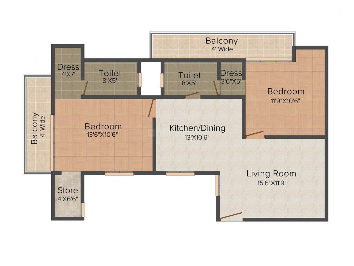 Ananda Heights Floor Plan: 2 BHK Unit with Built up area of 1250 sq.ft 1