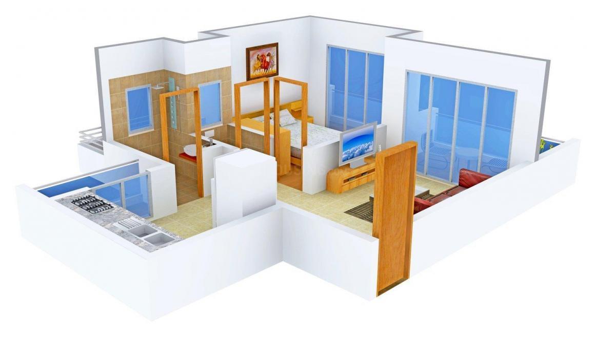 Floor Plan Image of 650.0 - 950.0 Sq.ft 1 BHK Apartment for buy in Platinum Om Sai Shrushti