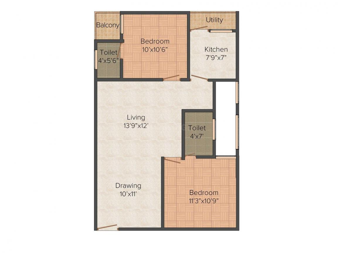 Floor Plan Image of 898.0 - 1030.0 Sq.ft 2 BHK Apartment for buy in Krest Classic Home
