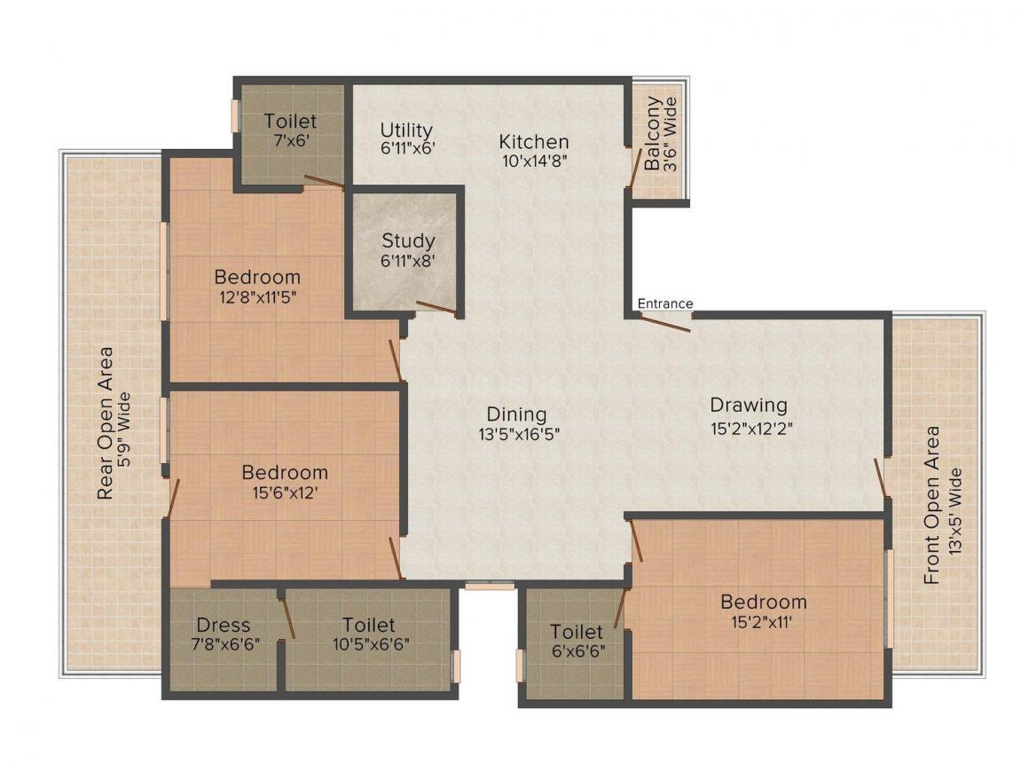 Floor Plan Image of 0 - 1800.0 Sq.ft 3 BHK Independent Floor for buy in SM Excel Floors 2