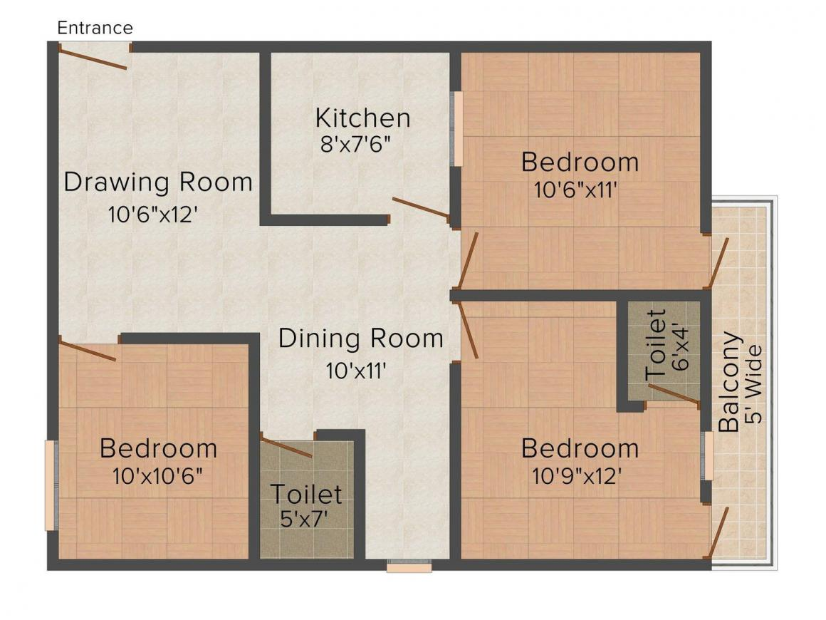 Floor Plan Image of 1027.0 - 1350.0 Sq.ft 2 BHK Independent Floor for buy in VRK Premium Housing Society
