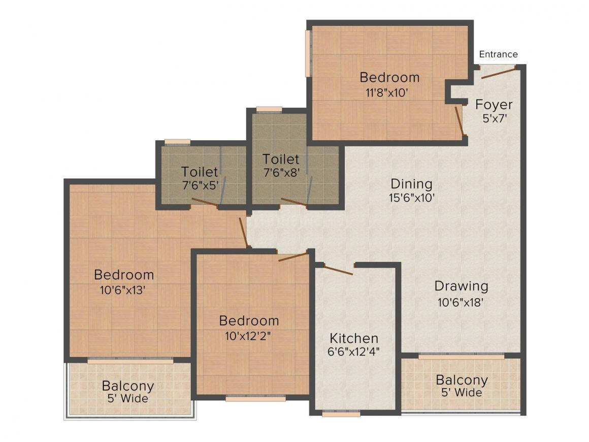 Floor Plan Image of 1395 - 3395 Sq.ft 3 BHK Apartment for buy in Ashiana Royal Lagoon