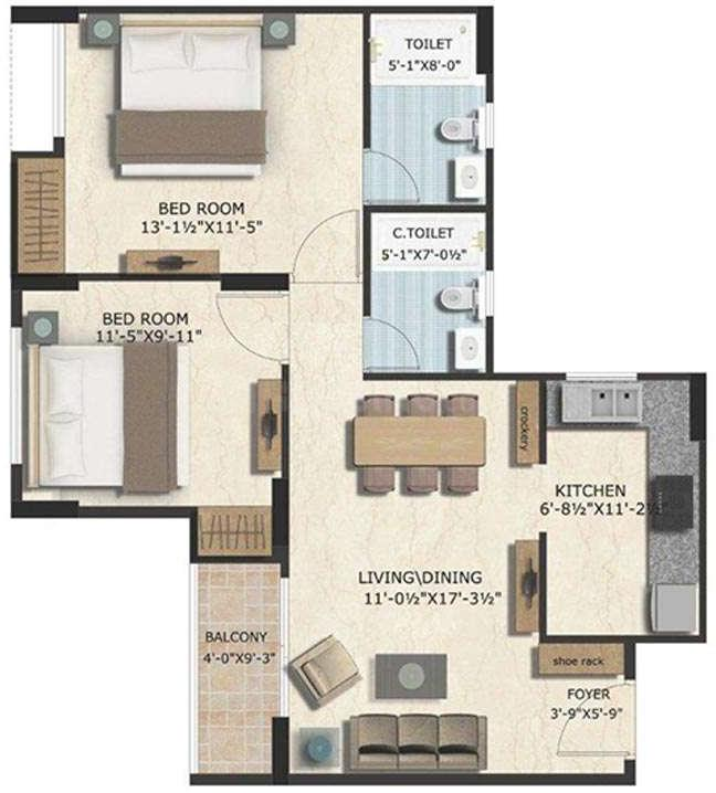 Floor Plan Image of 721.37 - 1660 Sq.ft 1 BHK Apartment for buy in GKB Grace