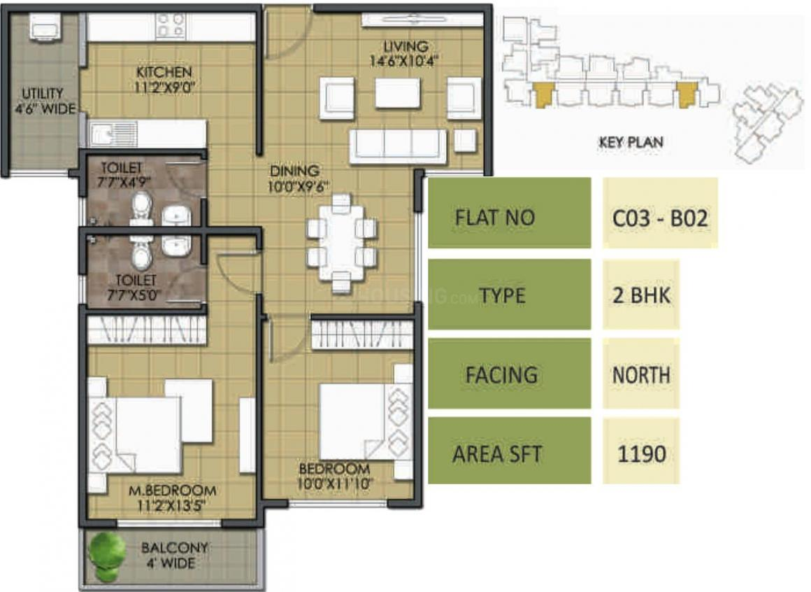 Meda Greens Floor Plan: 2 BHK Unit with Built up area of 1190 sq.ft 1