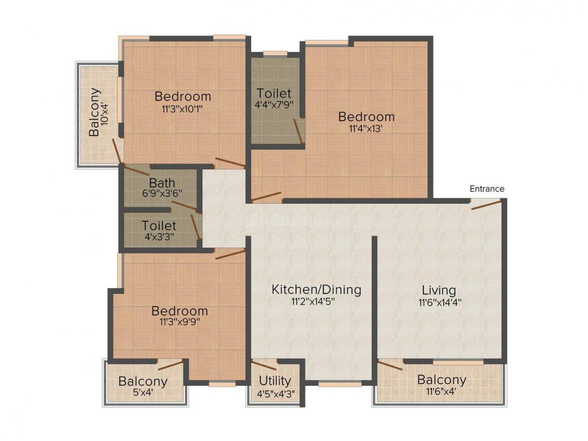 Floor Plan Image of 0 - 1228.0 Sq.ft 3 BHK Apartment for buy in Avani Heights