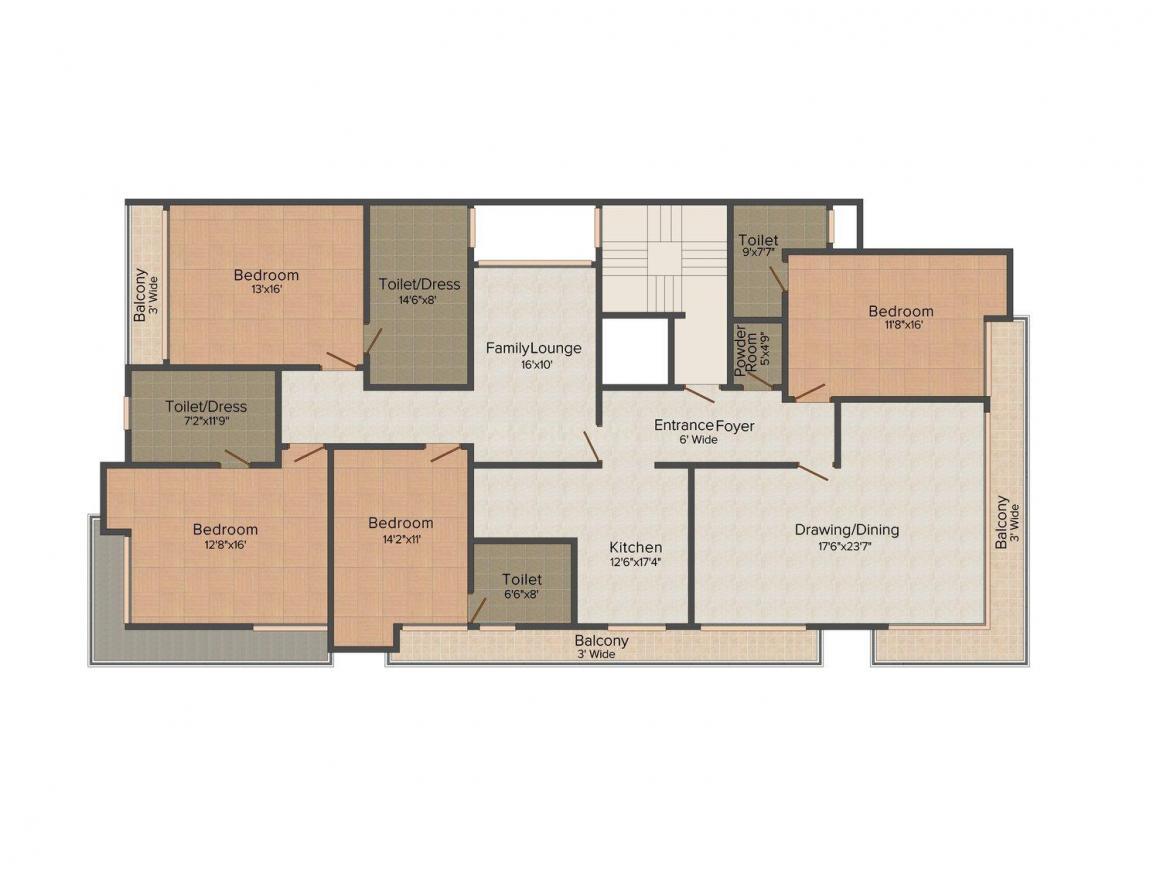 Floor Plan Image of 0 - 2254 Sq.ft 4 BHK Independent Floor for buy in Aarone Homes 4