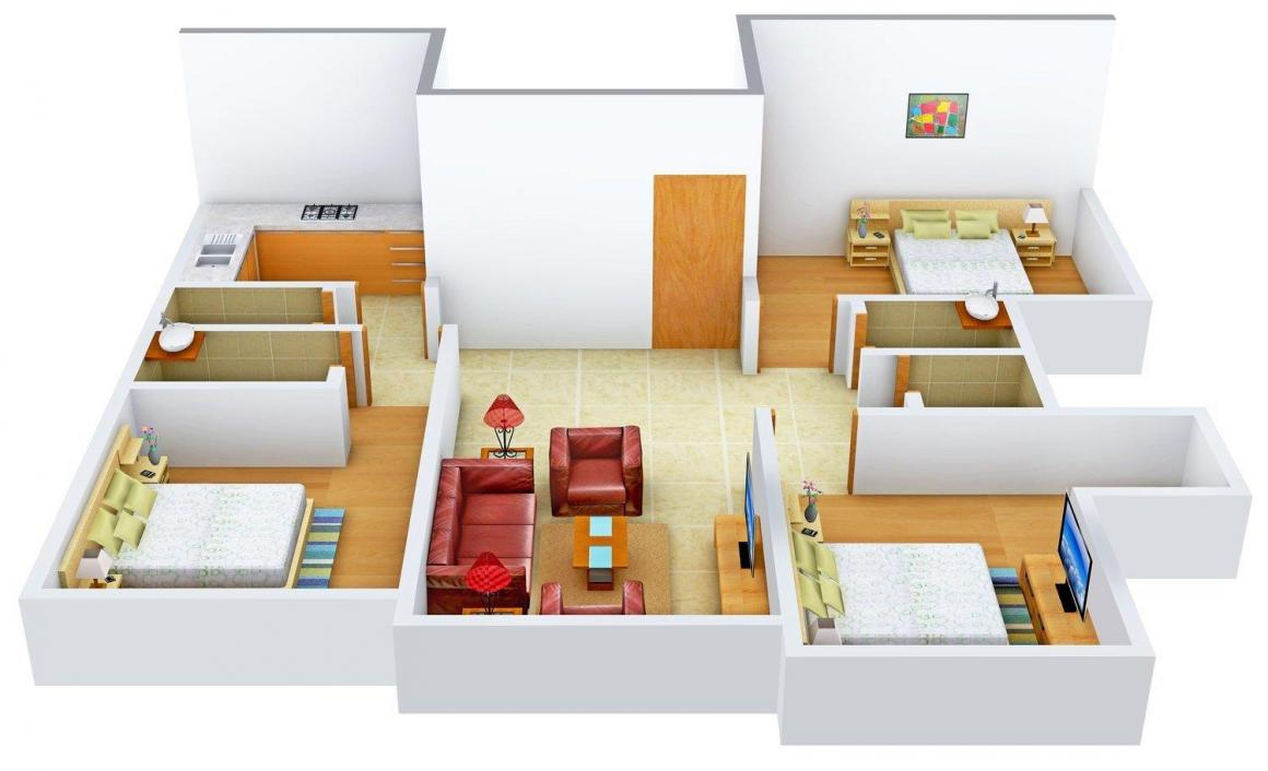 Floor Plan Image of 0 - 1330 Sq.ft 3 BHK Apartment for buy in Ambika Bholanath Chogle Residency