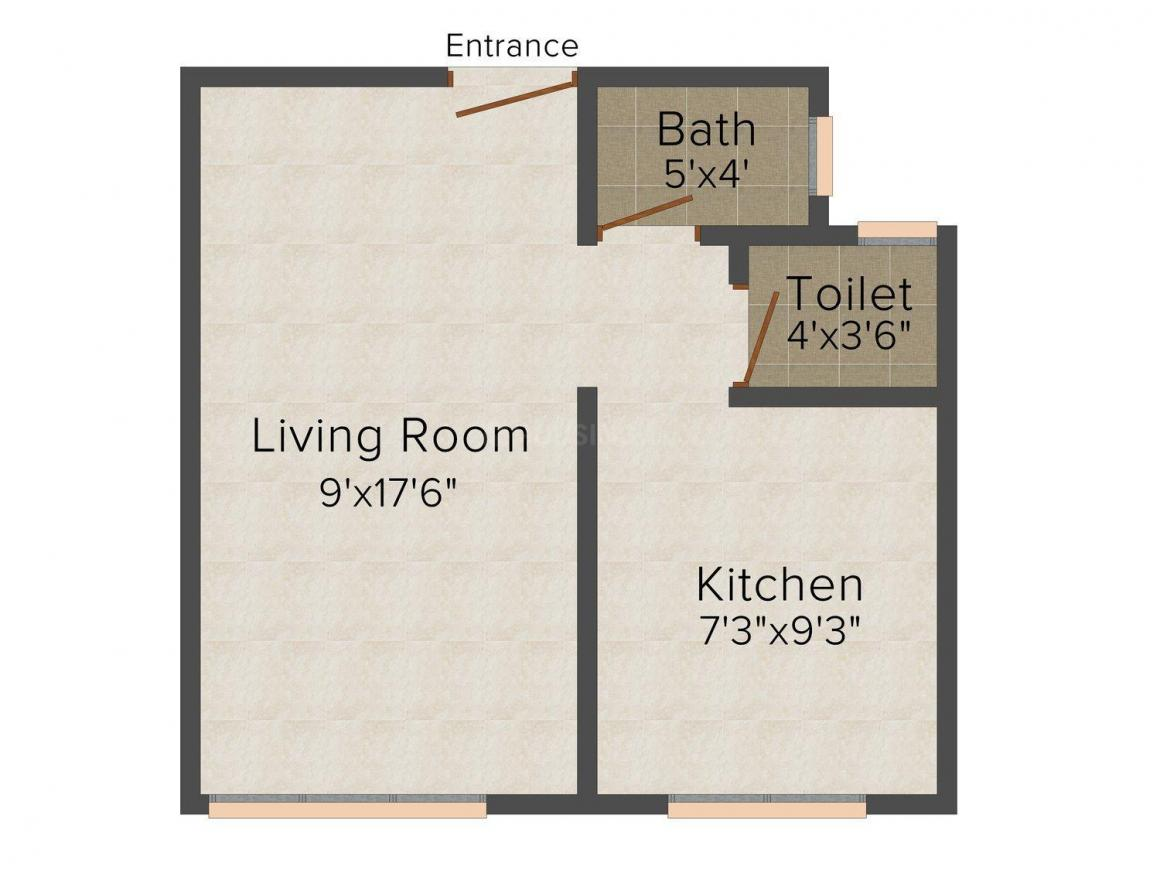 Floor Plan Image of 390 - 495 Sq.ft 1 RK Apartment for buy in Moga Apartment