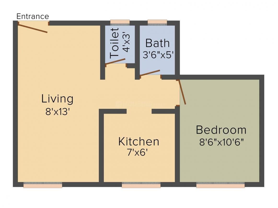 Floor Plan Image of 345.0 - 625.0 Sq.ft 1 RK Apartment for buy in Shree Swami Samarth