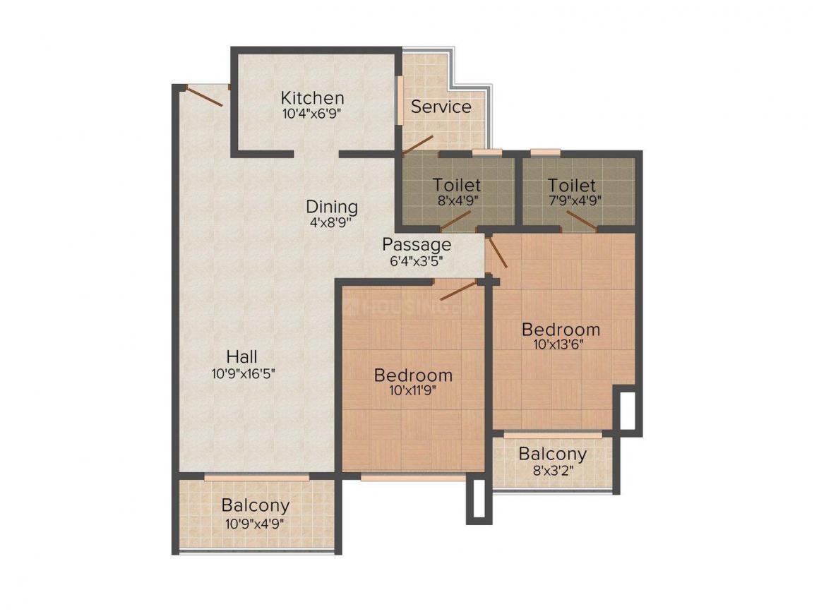 Floor Plan Image of 1022.0 - 1561.0 Sq.ft 2 BHK Apartment for buy in RRAS Karekar Residency