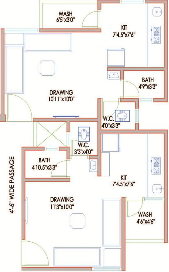 DBS Umang Aslali Floor Plan: 1 BHK Unit with Built up area of 432 sq.ft 1