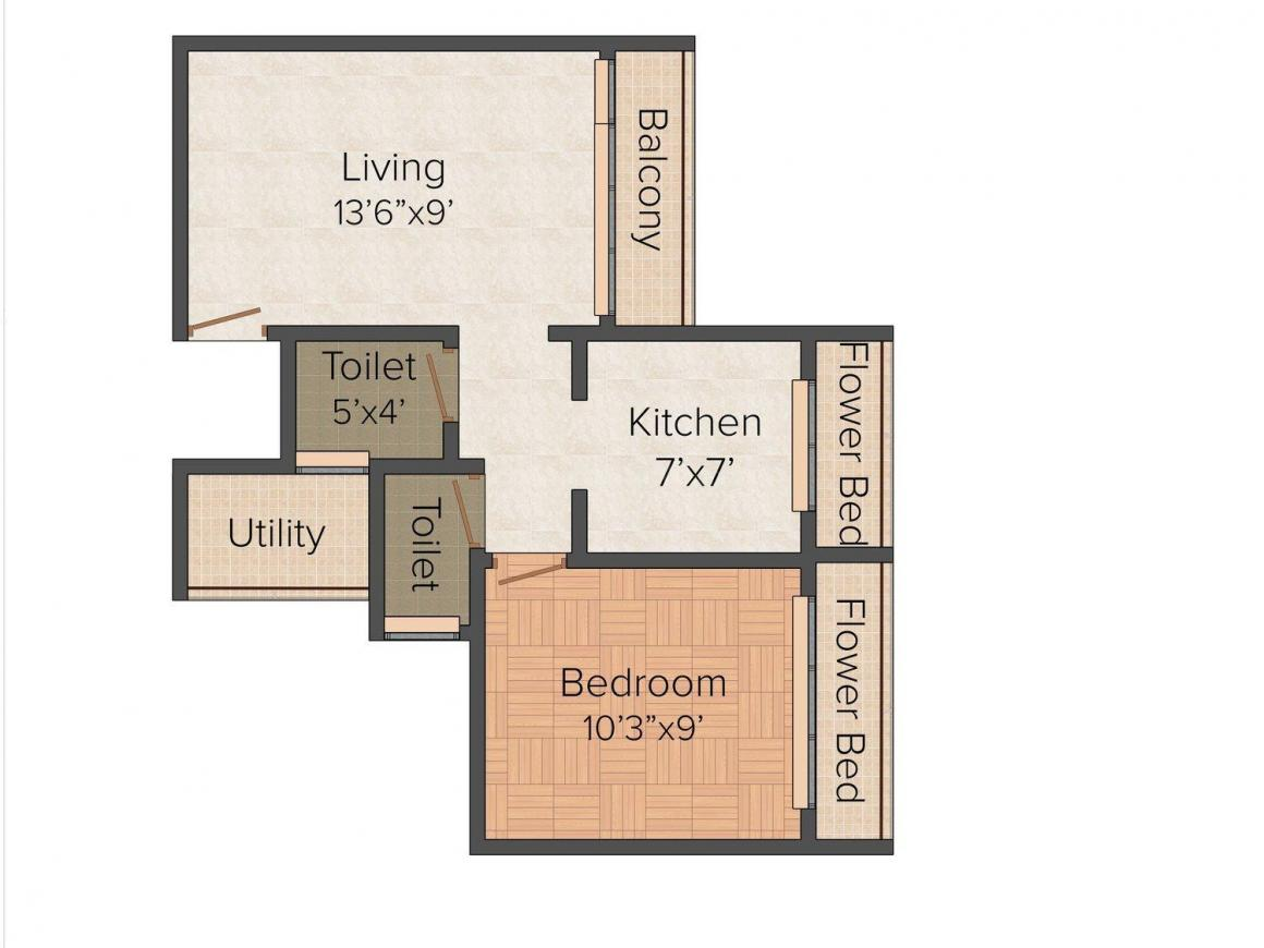 Floor Plan Image of 910 - 1005 Sq.ft 1 BHK Apartment for buy in Laxmi Aashirwad