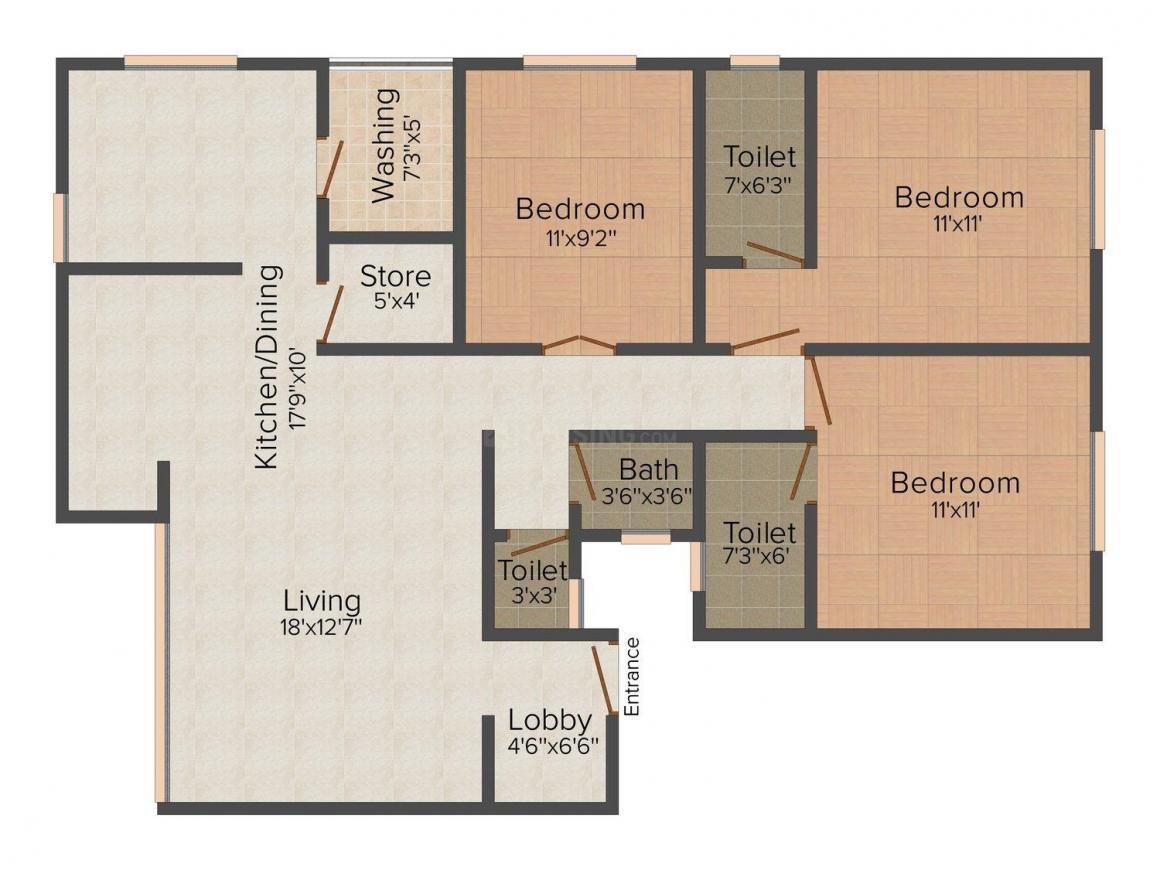 Floor Plan Image of 0 - 1410.0 Sq.ft 3 BHK Apartment for buy in Janaki Shri Hari Apartment