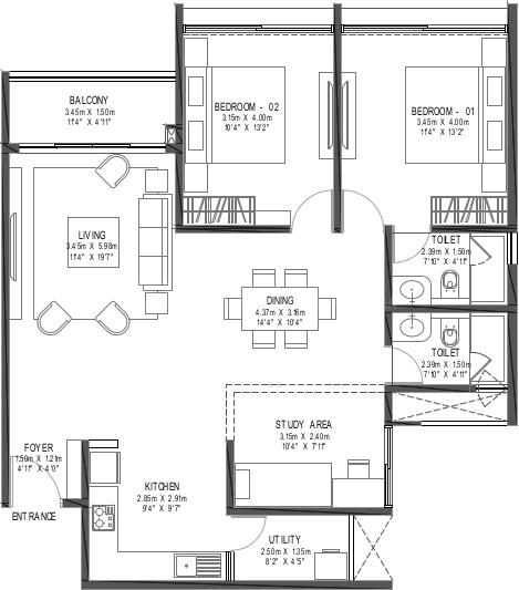 Godrej Reflections Floor Plan: 3 BHK Unit with Built up area of 1483 sq.ft 1