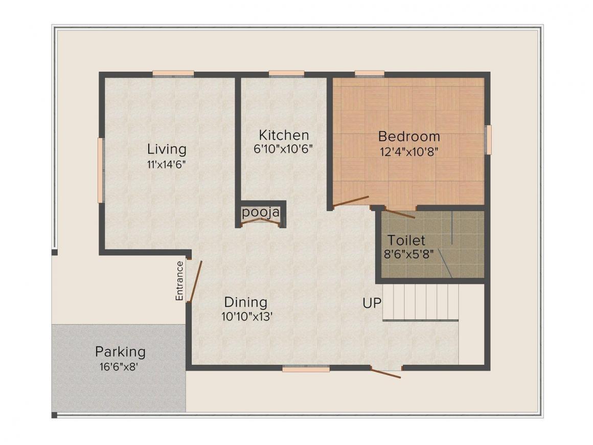 Floor Plan Image of 1500.0 - 1875.0 Sq.ft 2 BHK Villa for buy in Jupiter Commanders Purple Paradise Villas