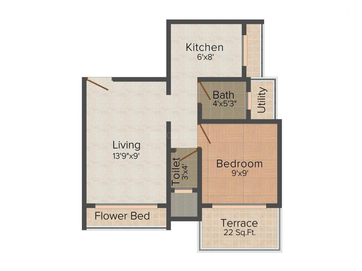 Floor Plan Image of 0 - 650.0 Sq.ft 1 BHK Apartment for buy in SHK Ruby Apartment