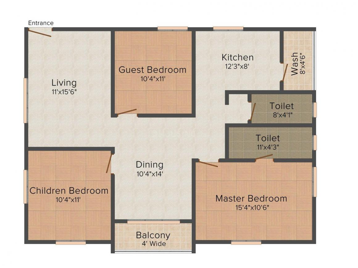 Floor Plan Image of 1155.0 - 1455.0 Sq.ft 2 BHK Apartment for buy in RSRPPL Sai Serenity
