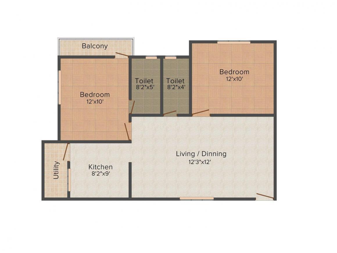 Floor Plan Image of 1108.0 - 1120.0 Sq.ft 2 BHK Apartment for buy in Carp Aranya Enclave