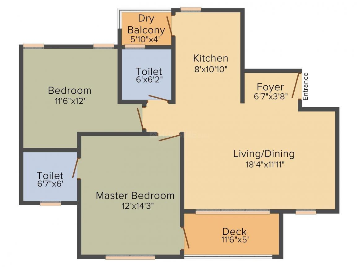 Floor Plan Image of 846 - 1162 Sq.ft 2 BHK Apartment for buy in TCG The Crown Greens Phase 2