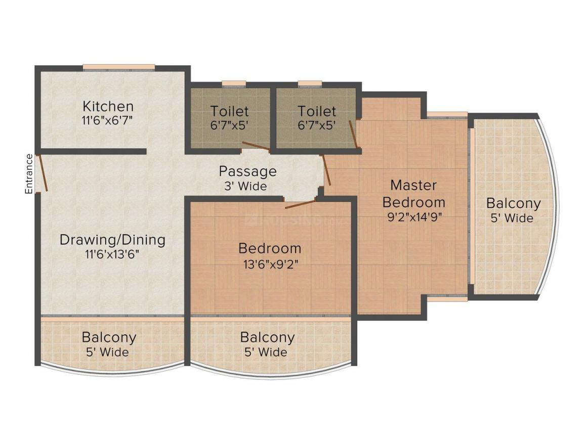 Floor Plan Image of 1237 - 1657 Sq.ft 2 BHK Apartment for buy in Essen Tranquility