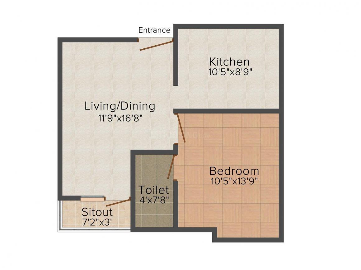 Floor Plan Image of 0 - 554.0 Sq.ft 1 BHK Apartment for buy in JK Guru Bramha