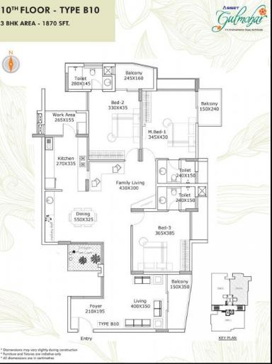 Asset Gulmohar Floor Plan: 3 BHK Unit with Built up area of 1870 sq.ft 1