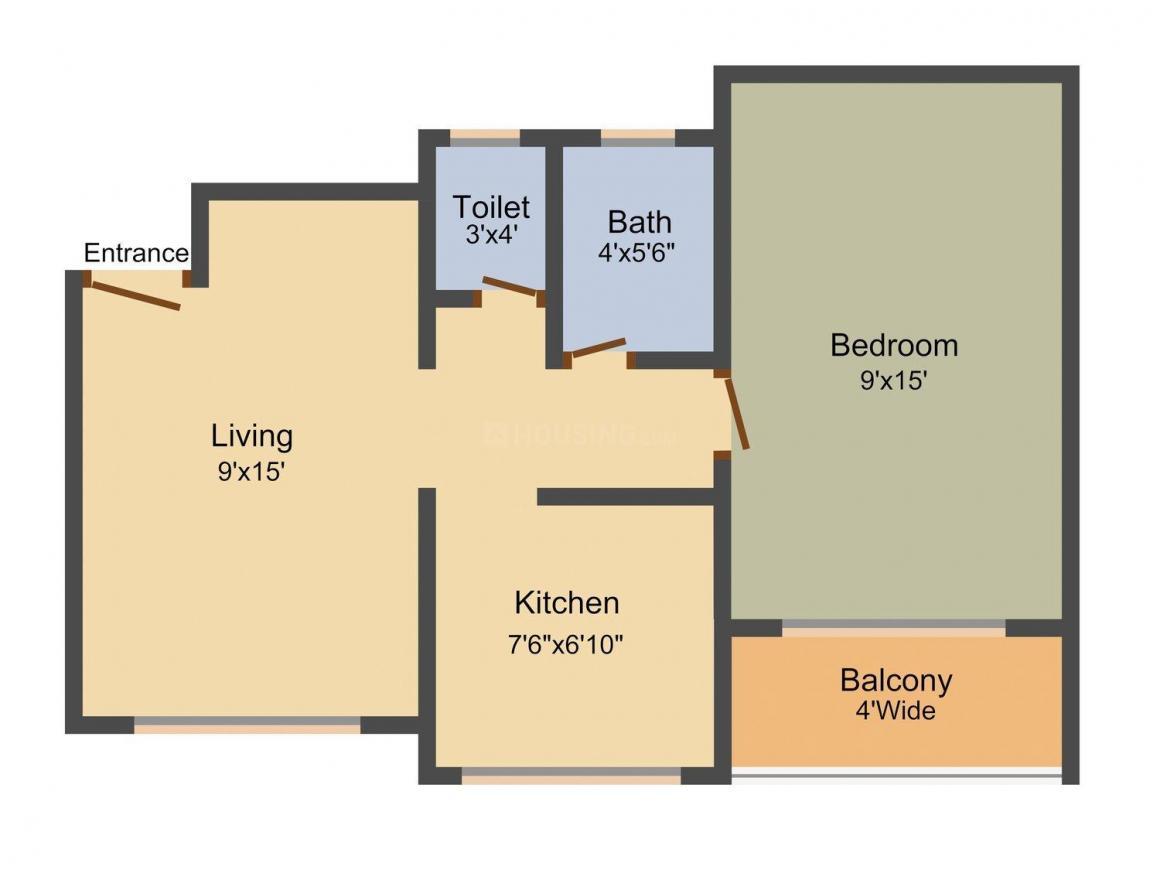 Floor Plan Image of 500.0 - 600.0 Sq.ft 1 BHK Apartment for buy in Mahek Residency