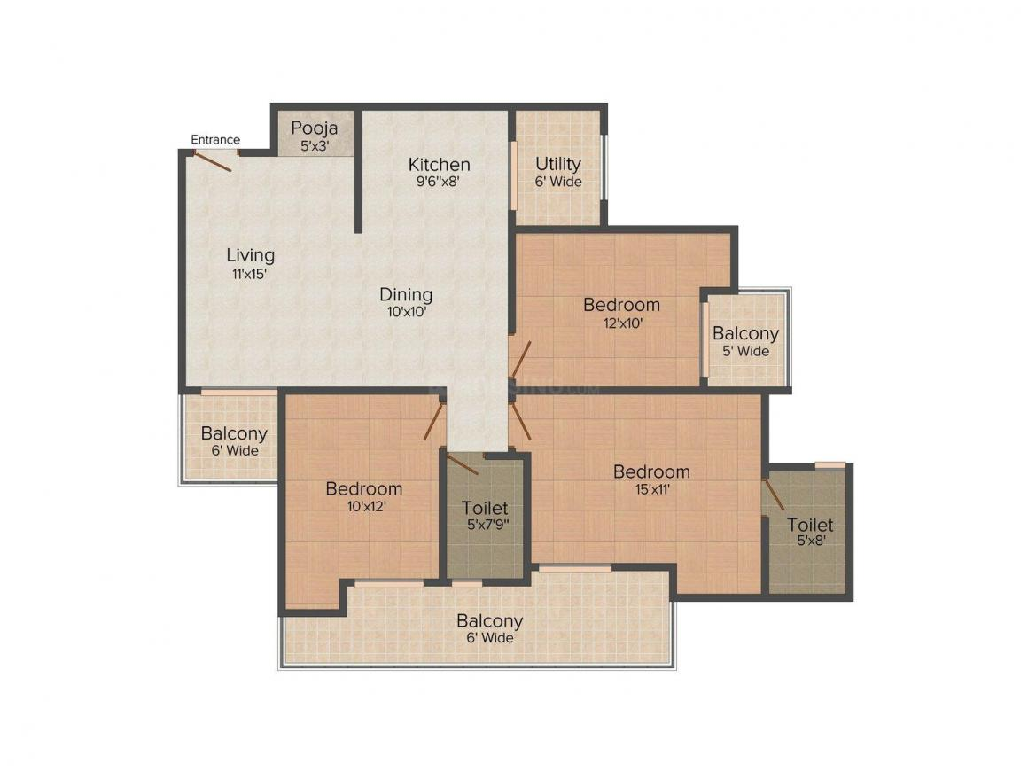 Floor Plan Image of 0 - 1365 Sq.ft 3 BHK Independent Floor for buy in Santushti Floors 2
