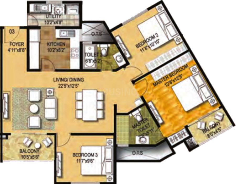 Ozone Metrozone Floor Plan: 3 BHK Unit with Built up area of 1107 sq.ft 1