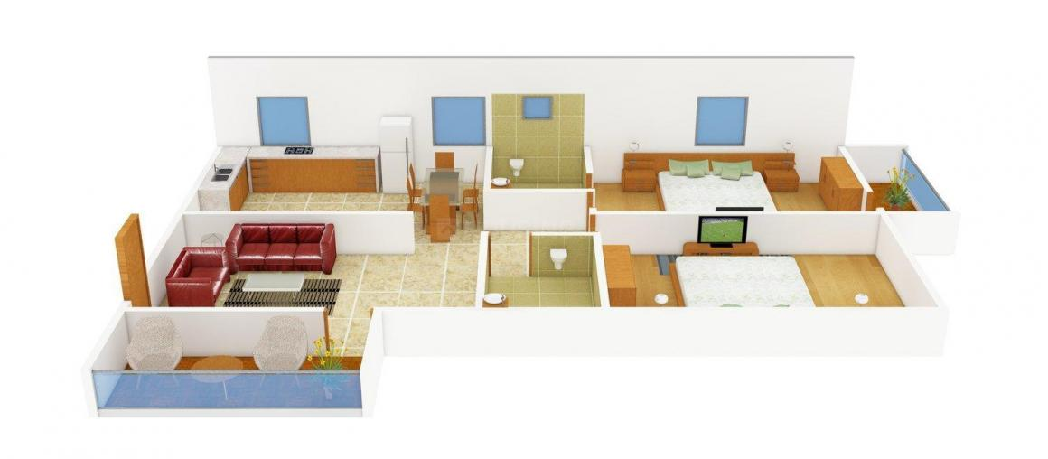 MVS Shine Floor Plan: 2 BHK Unit with Built up area of 1095 sq.ft 1