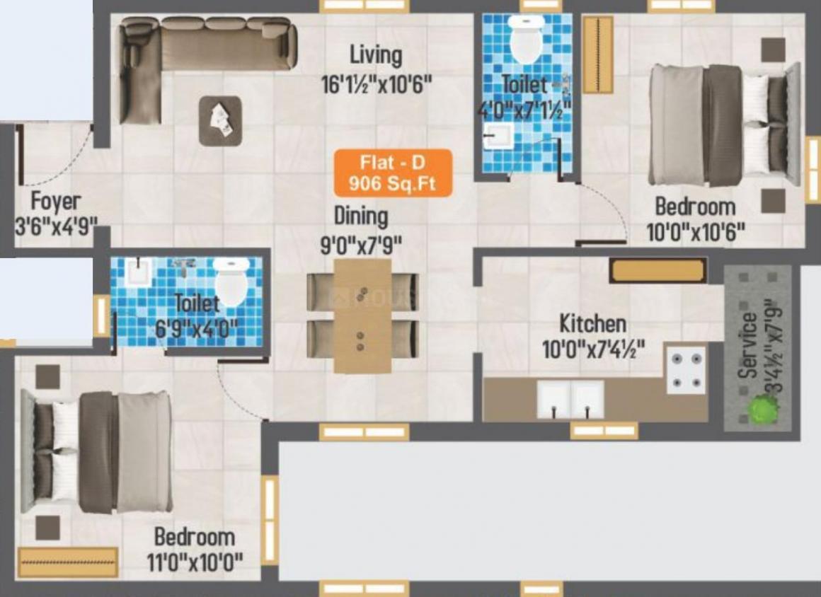 GP Elegant Castle Floor Plan: 2 BHK Unit with Built up area of 906 sq.ft 1