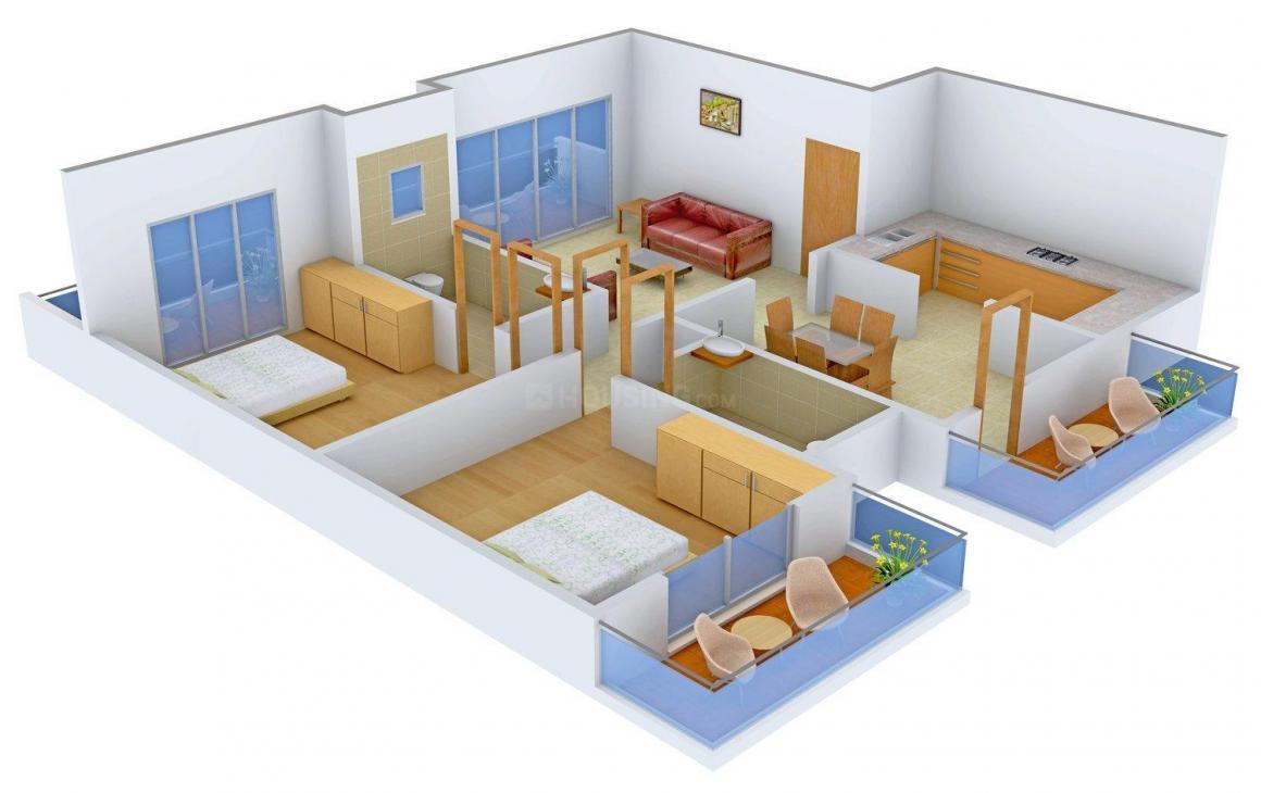 Floor Plan Image of 1203.0 - 1356.0 Sq.ft 2 BHK Apartment for buy in Saldanha Mari Gold