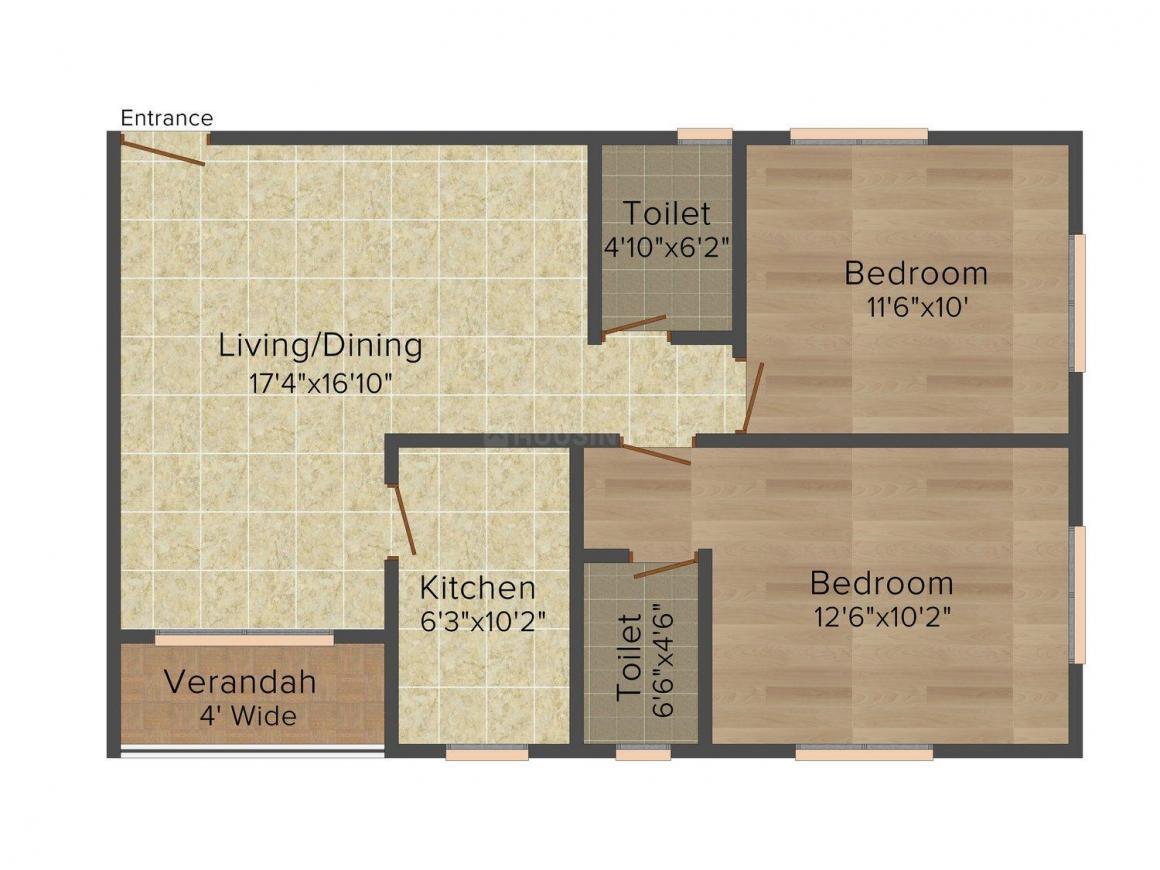 Floor Plan Image of 1028 - 1515 Sq.ft 2 BHK Apartment for buy in Regent City