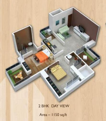 Casa Greens Floor Plan: 2 BHK Unit with Built up area of 1150 sq.ft 1