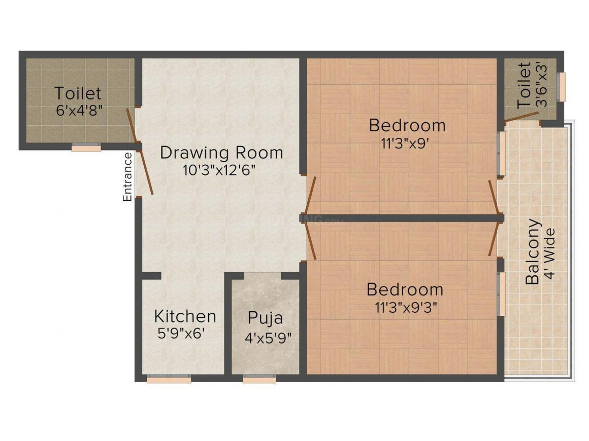 Floor Plan Image of 0 - 630 Sq.ft 2 BHK Apartment for buy in Rao Apartment - 4