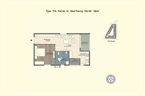 Ramky Golden Circle Floor Plan: 1 BHK Unit with Built up area of 840 sq.ft 1
