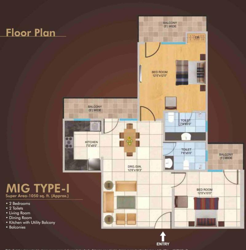 Panchsheel Wellington Floor Plan: 2 BHK Unit with Built up area of 1050 sq.ft 1