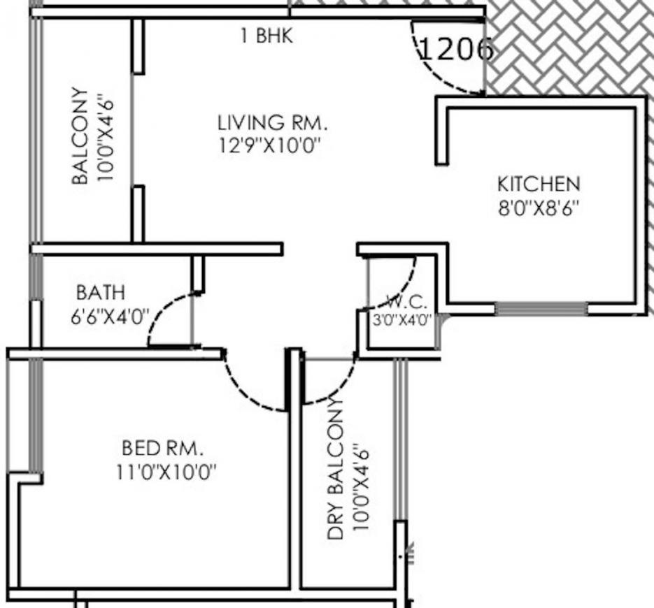 Badhekar Pushkar Floor Plan: 1 BHK Unit with Built up area of 672 sq.ft 1