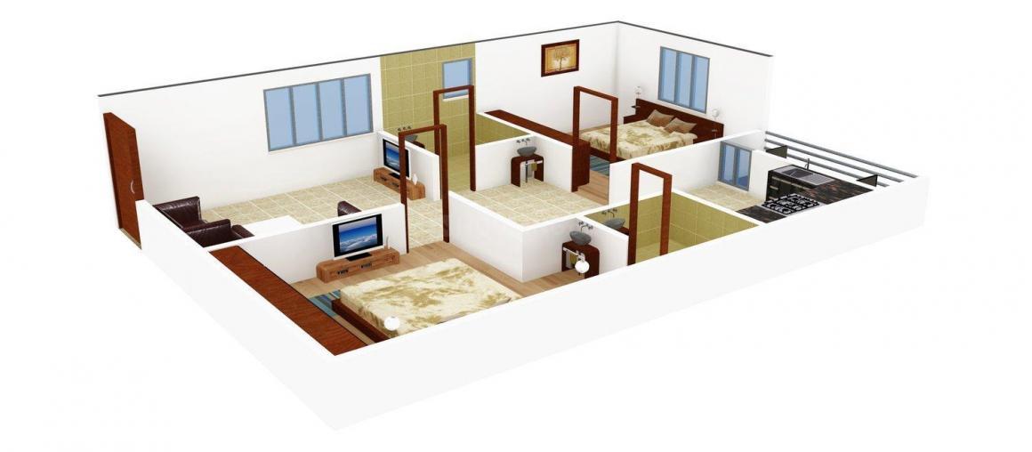 Floor Plan Image of 913.0 - 1464.0 Sq.ft 2 BHK Apartment for buy in ISR Sukriti
