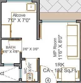 Karmvir Bhagwati Ashish Floor Plan: 1 BHK Unit with Built up area of 183 sq.ft 1