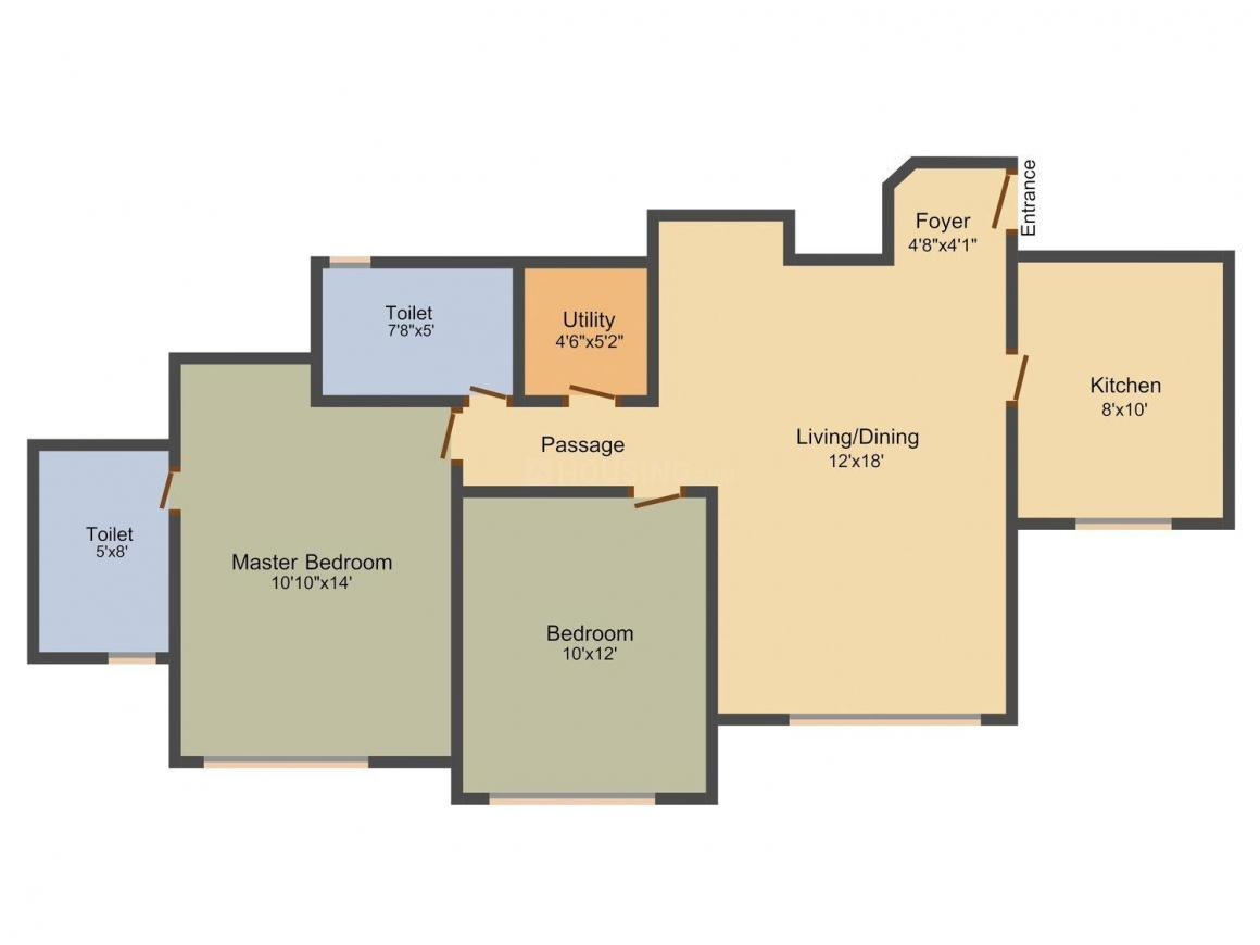 Floor Plan Image of 711 - 1012 Sq.ft 2 BHK Apartment for buy in Hiranandani Pelican