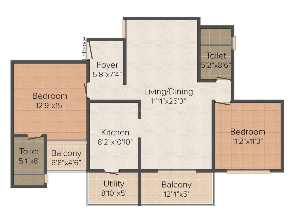 Floor Plan Image of 0 - 1150 Sq.ft 2 BHK Apartment for buy in Leela Naano