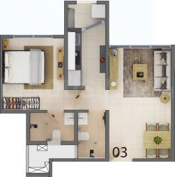 Codename Maha Lottery Floor Plan: 1 BHK Unit with Built up area of 375 sq.ft 1