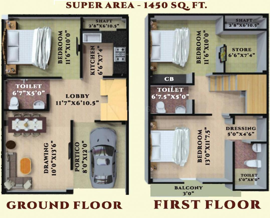 Novel Valley Floor Plan: 3 BHK Unit with Built up area of 1450 sq.ft 1