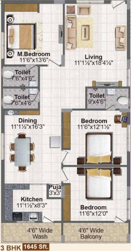 Jubilee Temple Tree Floor Plan: 3 BHK Unit with Built up area of 1645 sq.ft 1