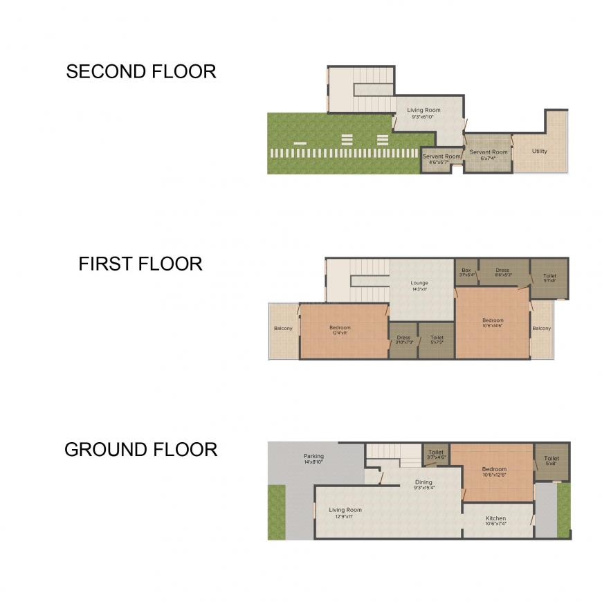 Amrapali Leisure Valley Floor Plan: 3 BHK Unit with Built up area of 1825 sq.ft 1