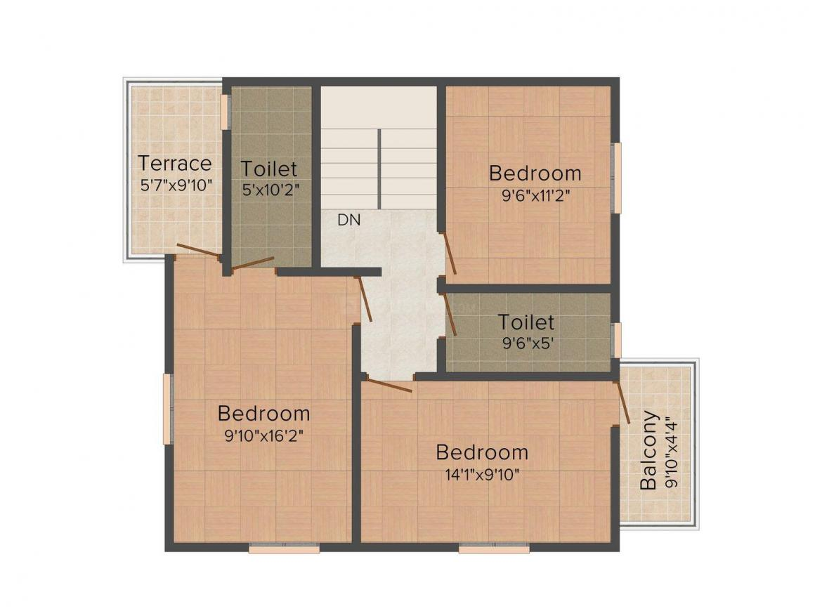 Floor Plan Image of 1550.0 - 2164.0 Sq.ft 4 BHK Villa for buy in Talak Pasquina Enclave