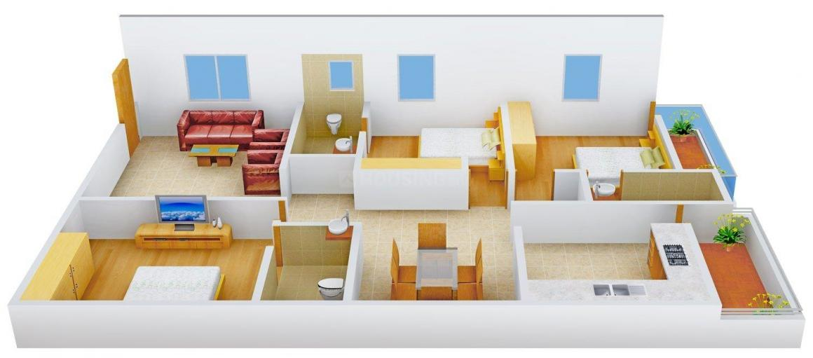 Floor Plan Image of 1710.0 - 1900.0 Sq.ft 3 BHK Apartment for buy in Amar Estates