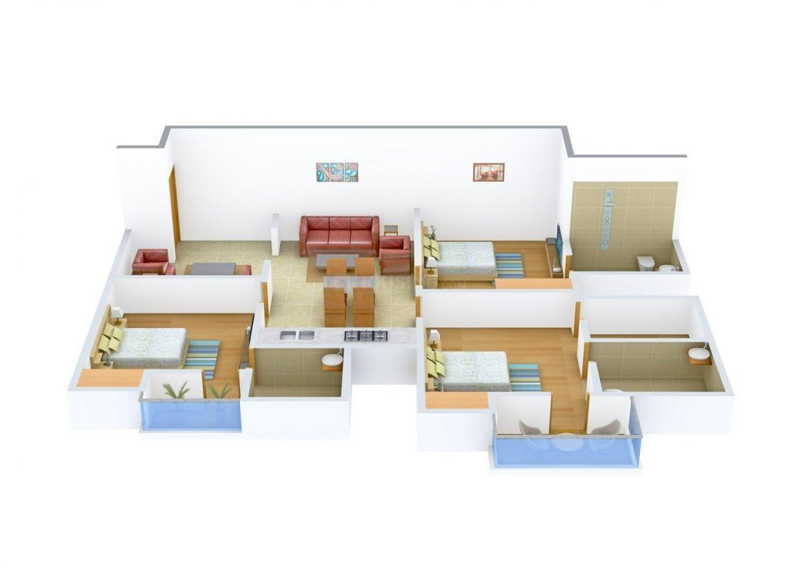 Floor Plan Image of 1223 - 1482 Sq.ft 3 BHK Apartment for buy in SAT Heaven's Heights