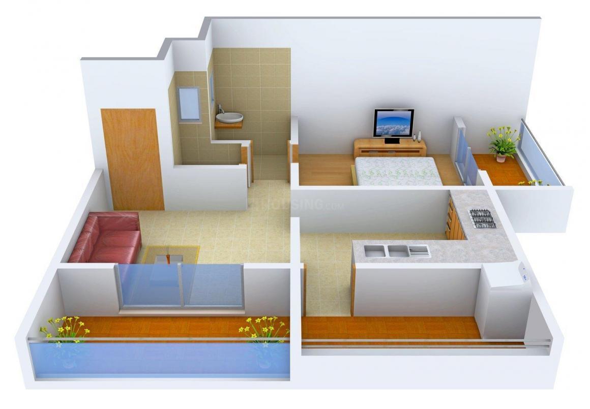 Floor Plan Image of 672.0 - 1076.0 Sq.ft 1 BHK Apartment for buy in Shree Gajraj Har Har Shankar